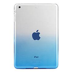 Carcasa Silicona Ultrafina Transparente Gradiente para Apple iPad Mini 3 Azul
