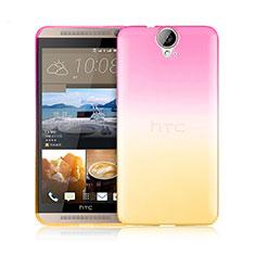 Carcasa Silicona Ultrafina Transparente Gradiente para HTC One E9 Plus Rosa