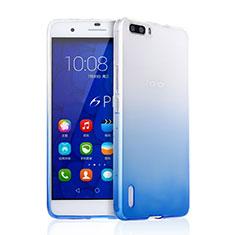 Carcasa Silicona Ultrafina Transparente Gradiente para Huawei Honor 6 Plus Azul