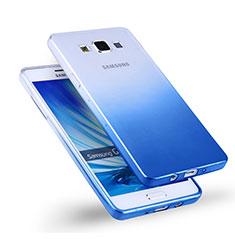 Carcasa Silicona Ultrafina Transparente Gradiente para Samsung Galaxy A5 Duos SM-500F Azul
