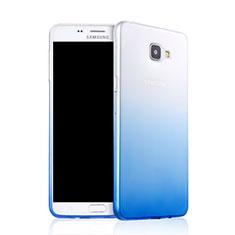 Carcasa Silicona Ultrafina Transparente Gradiente para Samsung Galaxy A9 Pro (2016) SM-A9100 Azul