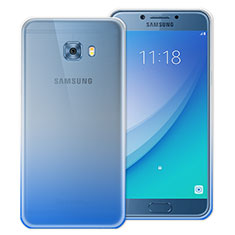 Carcasa Silicona Ultrafina Transparente Gradiente para Samsung Galaxy C5 Pro C5010 Azul