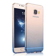 Carcasa Silicona Ultrafina Transparente Gradiente para Samsung Galaxy C9 Pro C9000 Azul
