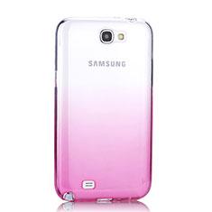 Carcasa Silicona Ultrafina Transparente Gradiente para Samsung Galaxy Note 2 N7100 N7105 Rosa