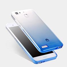Carcasa Silicona Ultrafina Transparente Gradiente Q01 para Huawei Enjoy 5S Azul