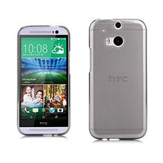 Carcasa Silicona Ultrafina Transparente para HTC One M8 Gris
