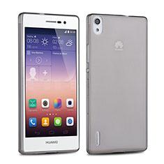 Carcasa Silicona Ultrafina Transparente para Huawei Ascend P7 Gris