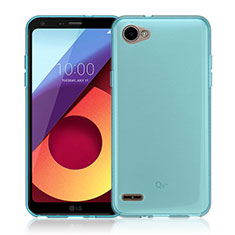 Carcasa Silicona Ultrafina Transparente para LG Q6 Azul