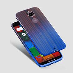 Carcasa Silicona Ultrafina Transparente para Motorola Moto X (2nd Gen) Azul