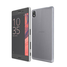 Carcasa Silicona Ultrafina Transparente para Sony Xperia X Gris