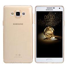 Carcasa Silicona Ultrafina Transparente T03 para Samsung Galaxy A7 Duos SM-A700F A700FD Oro