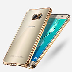 Carcasa Silicona Ultrafina Transparente T03 para Samsung Galaxy S6 Edge+ Plus SM-G928F Oro