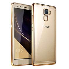 Carcasa Silicona Ultrafina Transparente T06 para Huawei Honor 7 Dual SIM Oro