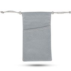 Carcasa Suave Terciopelo Tela Bolsa de Cordon Universal para Sony Xperia T3 Gris