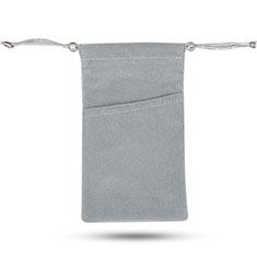 Carcasa Suave Terciopelo Tela Bolsa de Cordon Universal para HTC 10 One M10 Gris