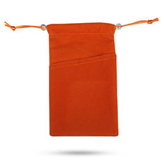 Carcasa Suave Terciopelo Tela Bolsa de Cordon Universal para Sony Xperia XZ2 Compact Naranja