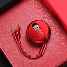 Cargador Cable Lightning USB Carga y Datos Android Micro USB C09 para Apple iPhone 11 Rojo