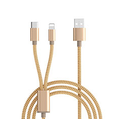 Cargador Cable Lightning USB Carga y Datos Android Micro USB ML03 para Apple iPhone 11 Pro Oro