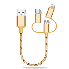 Cargador Cable Lightning USB Carga y Datos Android Micro USB Type-C 25cm S01 para Blackberry Z30 Oro