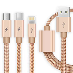 Cargador Cable Lightning USB Carga y Datos Android Micro USB Type-C ML03 para Apple iPhone 11 Pro Oro