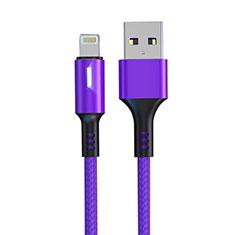 Cargador Cable USB Carga y Datos D21 para Apple iPad 4 Morado