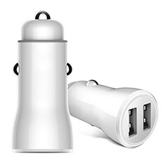 Cargador de Mechero 2.4A Adaptador Coche Doble Puerto USB Carga Rapida Universal para Apple iPhone 11 Blanco