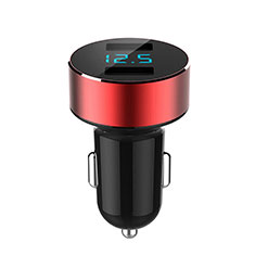 Cargador de Mechero 4.8A Adaptador Coche Doble Puerto USB Carga Rapida Universal K07 para Huawei Honor WaterPlay 10.1 HDN-W09 Rojo