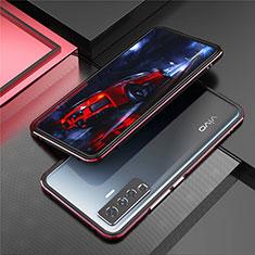 Funda Bumper Lujo Marco de Aluminio Carcasa A01 para Vivo X50 5G Rojo y Negro