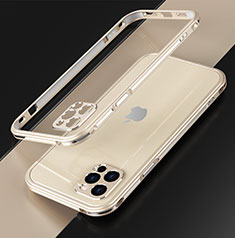 Funda Bumper Lujo Marco de Aluminio Carcasa N01 para Apple iPhone 12 Pro Max Oro