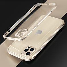Funda Bumper Lujo Marco de Aluminio Carcasa N01 para Apple iPhone 12 Pro Oro