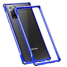Funda Bumper Lujo Marco de Aluminio Carcasa N01 para Samsung Galaxy Note 20 5G Azul