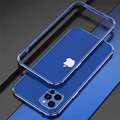 Funda Bumper Lujo Marco de Aluminio Carcasa N02 para Apple iPhone 12 Pro Azul