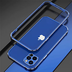 Funda Bumper Lujo Marco de Aluminio Carcasa N02 para Apple iPhone 12 Pro Max Azul