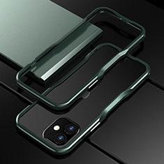 Funda Bumper Lujo Marco de Aluminio Carcasa N02 para Apple iPhone 12 Verde Noche