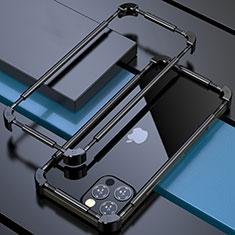 Funda Bumper Lujo Marco de Aluminio Carcasa N03 para Apple iPhone 12 Pro Negro