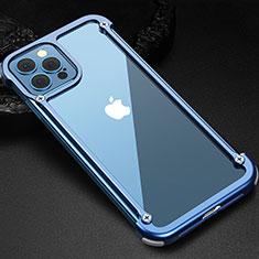 Funda Bumper Lujo Marco de Aluminio Carcasa N04 para Apple iPhone 12 Pro Azul
