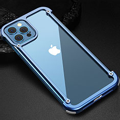 Funda Bumper Lujo Marco de Aluminio Carcasa N04 para Apple iPhone 12 Pro Max Azul