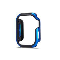 Funda Bumper Lujo Marco de Aluminio Carcasa para Apple iWatch 5 44mm Azul y Negro
