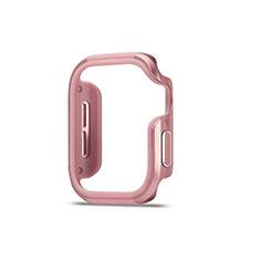 Funda Bumper Lujo Marco de Aluminio Carcasa para Apple iWatch 5 44mm Oro Rosa