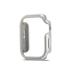 Funda Bumper Lujo Marco de Aluminio Carcasa para Apple iWatch 5 44mm Plata
