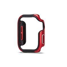 Funda Bumper Lujo Marco de Aluminio Carcasa para Apple iWatch 5 44mm Rojo y Negro
