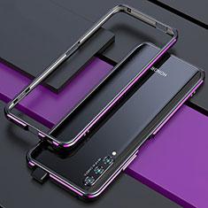 Funda Bumper Lujo Marco de Aluminio Carcasa para Huawei Honor 9X Pro Morado y Negro