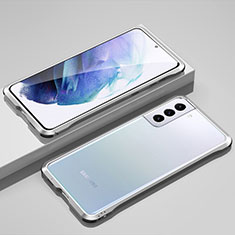 Funda Bumper Lujo Marco de Aluminio Carcasa para Samsung Galaxy S21 5G Plata