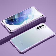 Funda Bumper Lujo Marco de Aluminio Carcasa para Samsung Galaxy S21 5G Purpura Claro