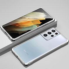 Funda Bumper Lujo Marco de Aluminio Carcasa para Samsung Galaxy S21 Ultra 5G Plata