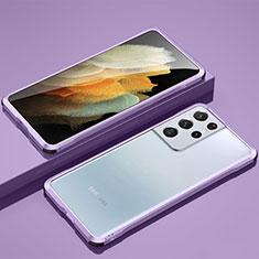 Funda Bumper Lujo Marco de Aluminio Carcasa para Samsung Galaxy S21 Ultra 5G Purpura Claro