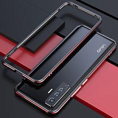 Funda Bumper Lujo Marco de Aluminio Carcasa para Vivo X50 5G Rojo y Negro