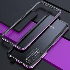 Funda Bumper Lujo Marco de Aluminio Carcasa T01 para Huawei Honor X10 5G Morado y Negro