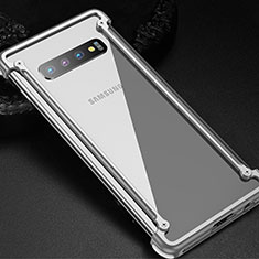 Funda Bumper Lujo Marco de Aluminio Carcasa T01 para Samsung Galaxy S10 5G Plata