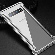 Funda Bumper Lujo Marco de Aluminio Carcasa T01 para Samsung Galaxy S10 Plata